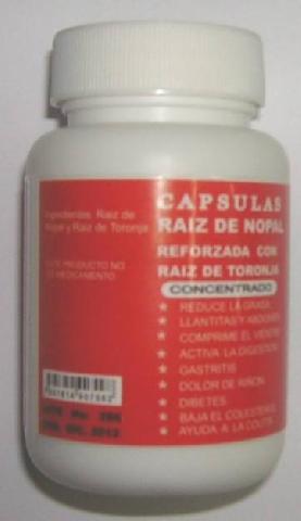 CAPSULAS DE RAIZ DE NOPAL REFORZADA CON RAIZ DE TORONJA