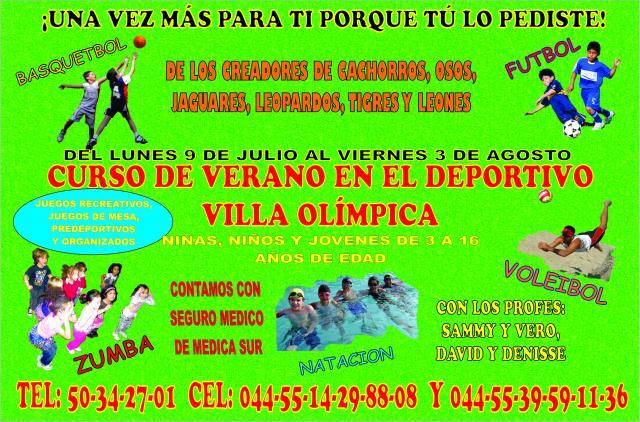 Curso de verano en tlalpan villa olimpica 2012 en tlalpan for Clases de natacion df
