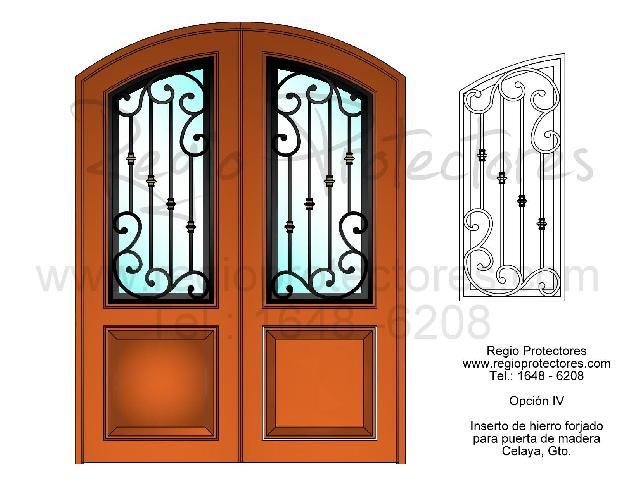 Inserto de Hierro Forjado para puerta de Madera, Diseño Opción III y