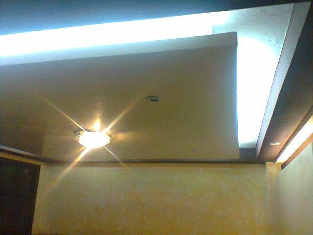 Im genes de trabajos de tablaroca pasta texturizada y for Plafones luz pared