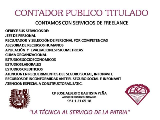 Contador Publico Con Experiencia De Mas De 25 Anos En Oaxaca De Juarez