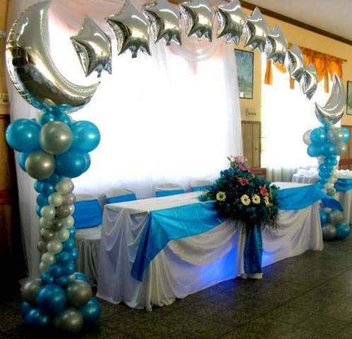 Decoraci n de fiestas de 15 a os con globos y telas imagui for Globos para quince anos
