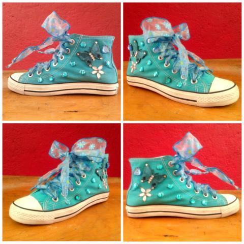 Tenis decorados personalizados para xv a os o boda en - Ideas para decorar zapatos de nina ...