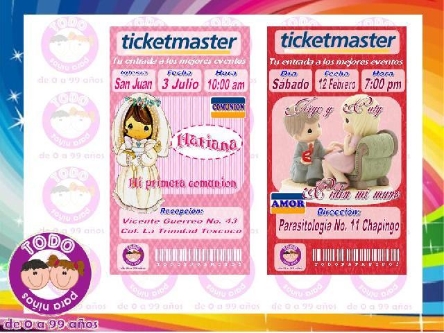 Invitaciones en formato ticketmaster idelaes para toda ocasión, bodas ...