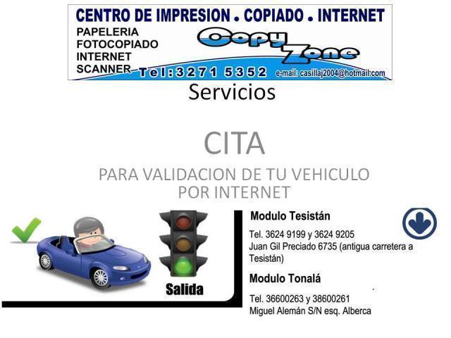 Cita Validacion De Vehiculos En Tesistan Y Tonala En